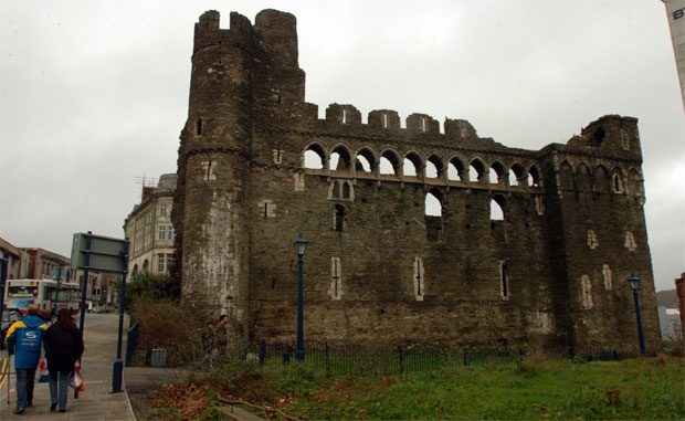 Swansea Castle, Swansea, South Wales - It was built by the Normans just 40 years after William the Conqueror's famous victory over King Harold at the Battle of Hastings in 1066. With its turrets, arrow slits and intricate stonework Swansea Castle has survived numerous attacks from Welsh rebels and even the German Luftwaffe.