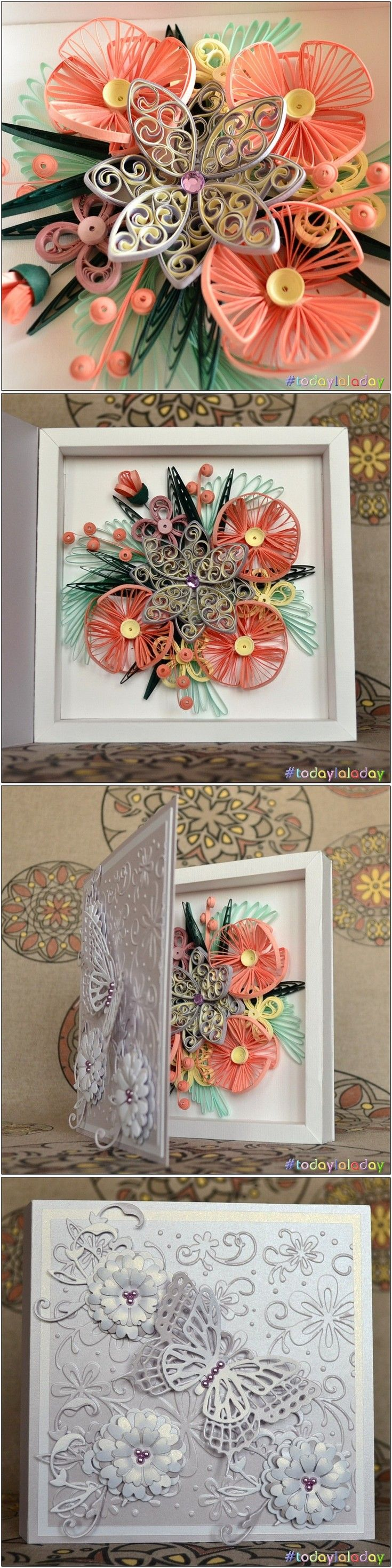 quilling card box from all sides  #quilling #quillingart #quillingflowers #todaylaladay