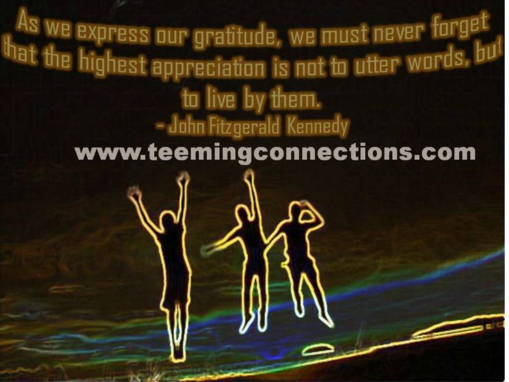 As we express our gratitude, we must never forget that the highest appreciation is not to utter words, but to live by them. - John Fitzgerald Kennedy #teemingconnections