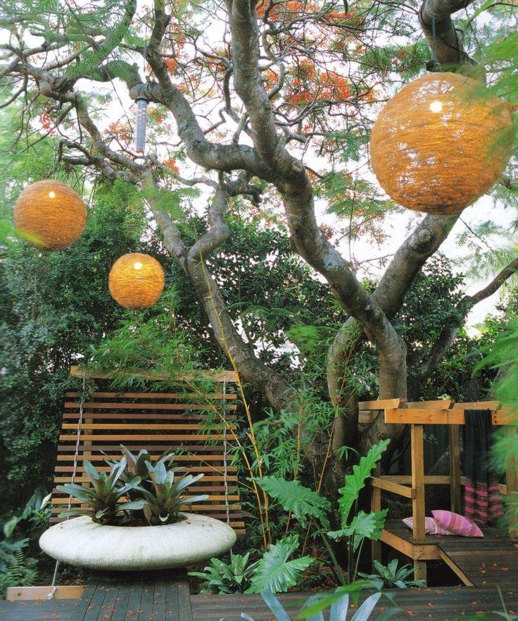 Marvelous Garden Charming Image Of Garden Yard Landscaping Decoration Using Outdoor Ball Yarn Garden Lighting Including Modern Wooden Garden Floor And Modern Round