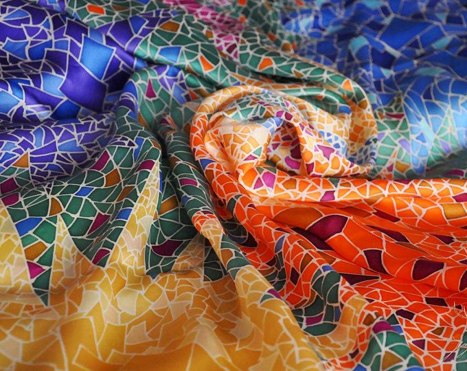 """Silk Scarf Hand Painted Women's Scarves Gifts for Her """"Gaudi"""" Mosaic Scarf Colorful Silk Shawl (100% Silk)"""