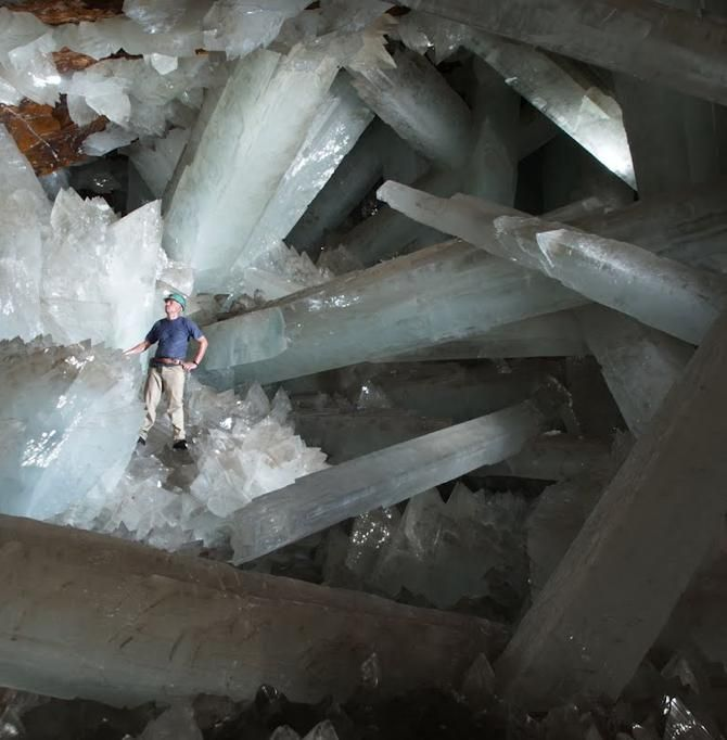 Giant gypsum crystals up to 11 meters long in the Cave of Crystals, Naica, Chihuahua, Mexico. (Credit: Javier Trueba)