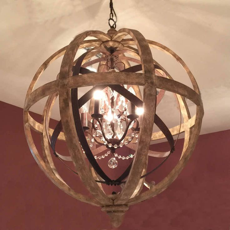 Wooden Orb Chandelier Metal Orb Detail And Crystal