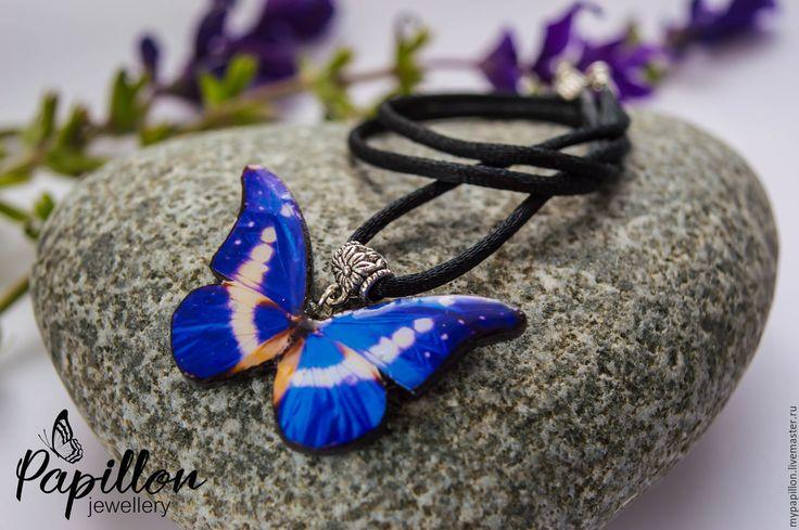 Купить Кулон Бабочка лазурно-белая - синий, кулон, бабочка, Кулон ручной работы
