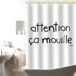 Rideau de douche Attention çà mouille Blanc et noir Polyester Incidence: Amazon.fr: Cuisine & Maison