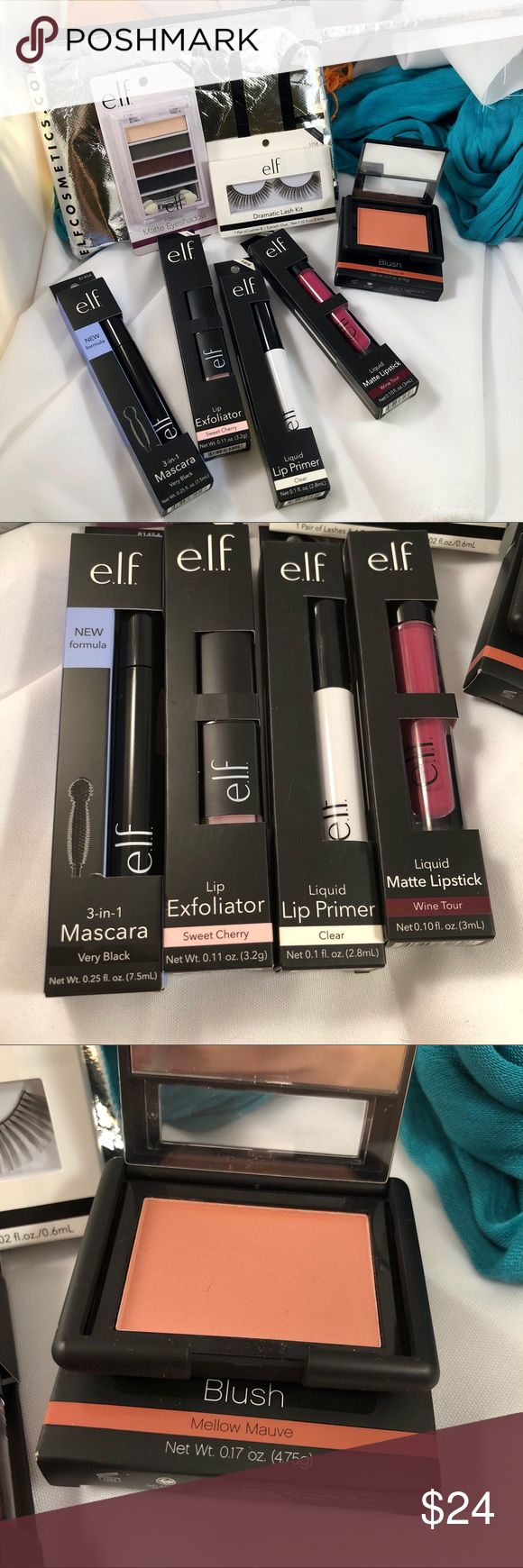 "ELF Cosmetics Custom ""BEST OF"" Bundle #2 All full sized brand new products for a full face of WOW! Famous Lip Exfoliator in Sweet Cherry. liquid Lip Primer. 3-in-1 Mascara. Liquid Matte Lipstick in Wine Tour. Matte Blush in Mellow Mauve. Matte Eyeshadow Quad in Matte Plum. Dramatic Eyelash Kit. All in a foiled elf bag💕 e.l.f. Makeup"