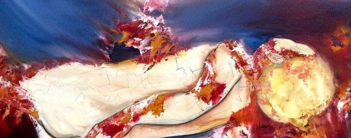 """""""The Chosen"""" """"El Elegido"""" Oil on wood 44x106 cms"""