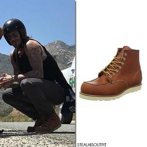 David Beckham in brown leather boots July 2017 motorcycle road trip