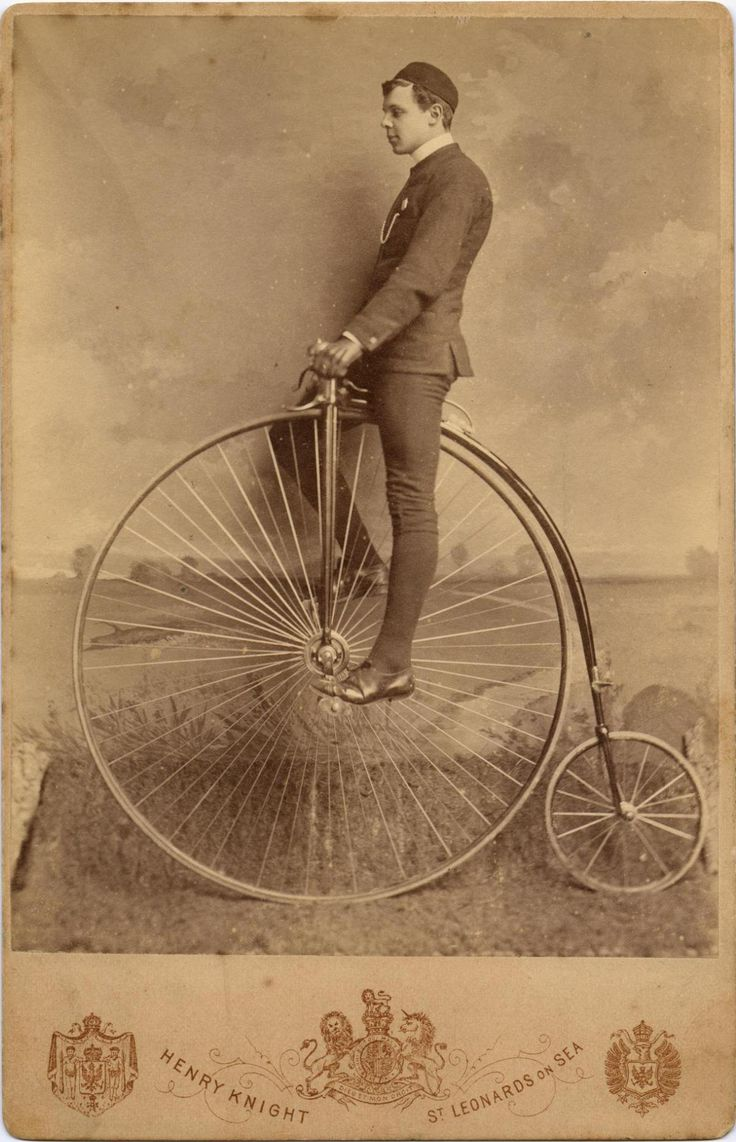 Carte-de-visite depicting a man on a penny farthing bicycle, by Henry Knight, St Leonards on Sea