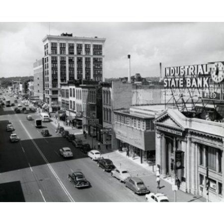USA Michigan Kalamazoo Traffic on road in city Canvas Art - (24 x 36)