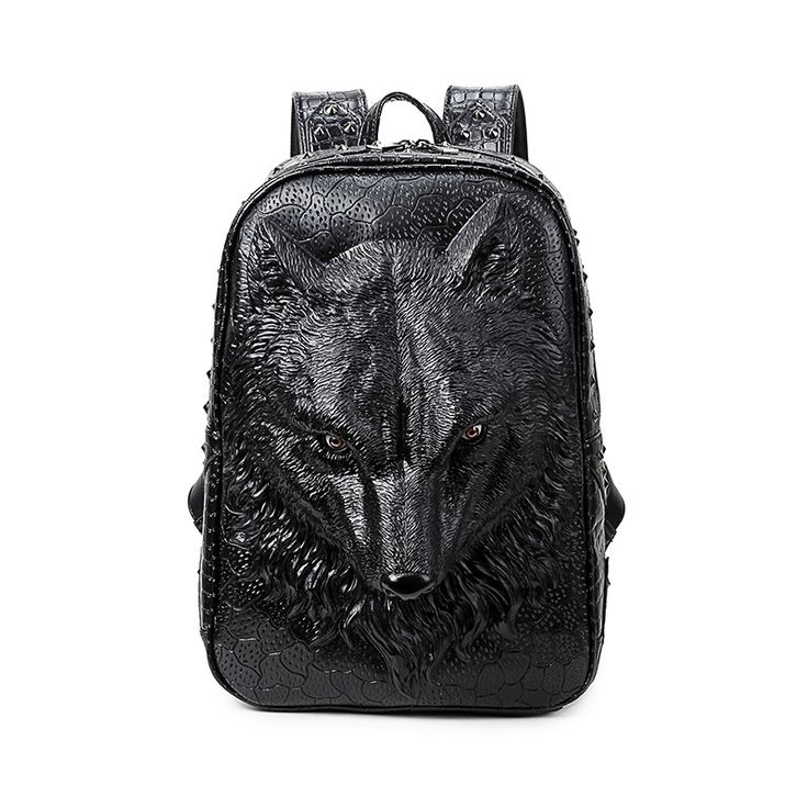 3D Wolf Head Mouth Closed Printed Backpack Cool PU Leather Laptop Shoulder Bags Black