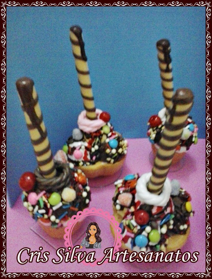 porta caneta sorvete em biscuit