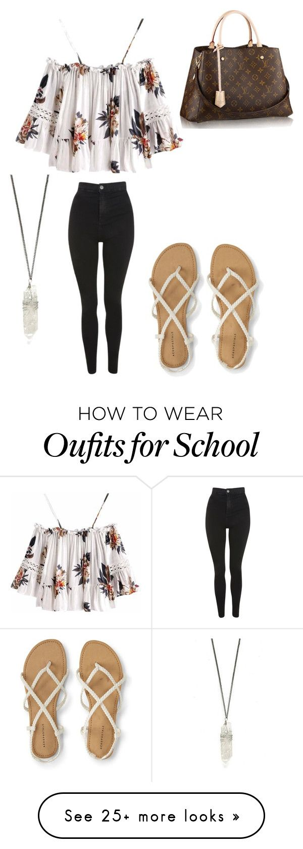 """School Day"" by mtbows on Polyvore featuring Topshop and Louis Vuitton"