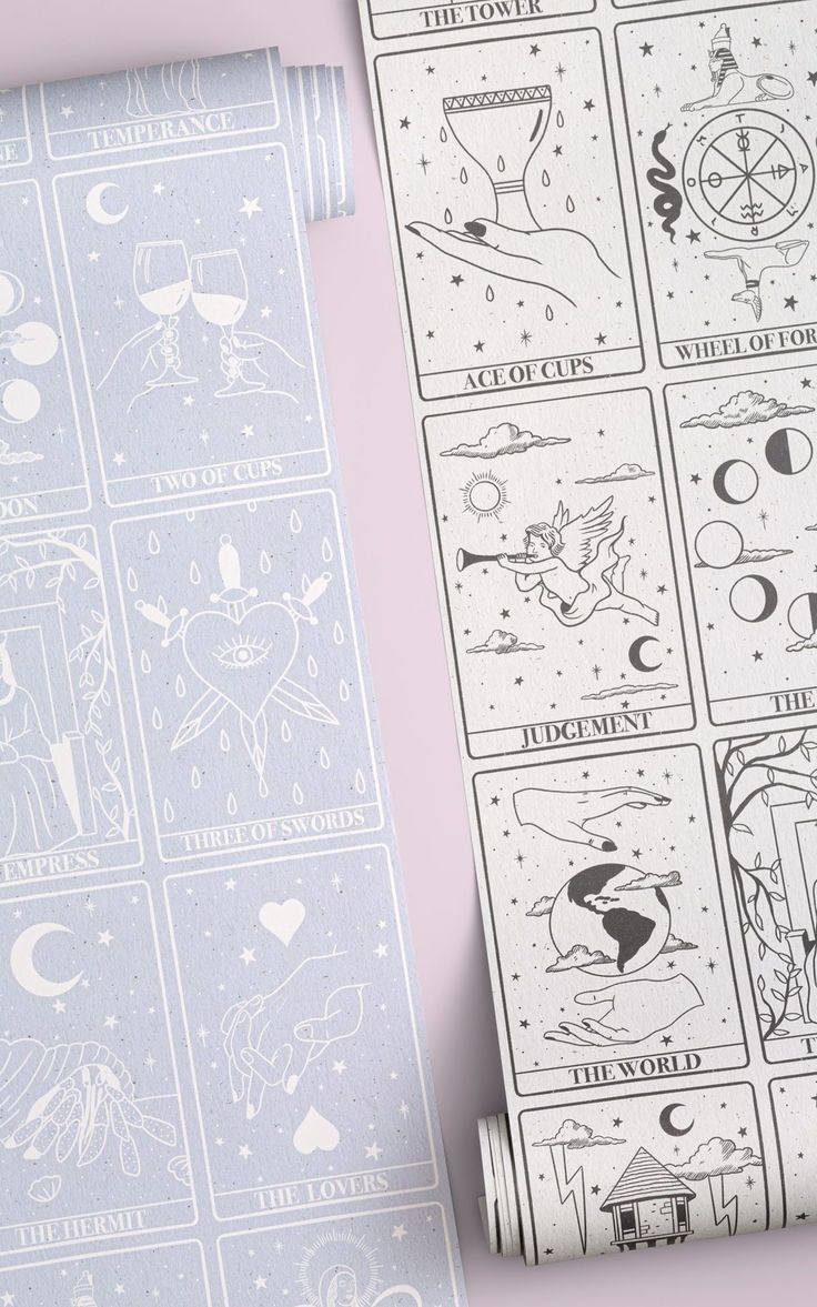 Personalise your space with a tarot card pattern wallpaper mural that creates the perfect mystical backdrop to your space. This wallpaper features 24 tarot cards, each illustrated with beautiful little details. The designs are drawn in black against an off-white background with a paper texture effect, giving the pattern a minimalist look that can easily be paired with any interior decor.