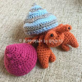 Homemade by Giggles: Hermit Crab with Removable Shells - FREE Crochet Pattern, amigurumi, stuffed toy, #haken, gratis patroon (Engels), kreeft  met verwissebare schelpen, hermietkreeft, zee, knuffel, speelgoed, #haakpatroon