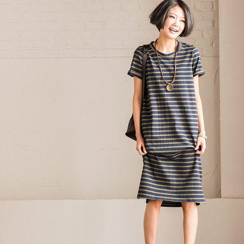 Art Stripe Long Dress Summer Short Sleeve Causel Blouse Women Clothes