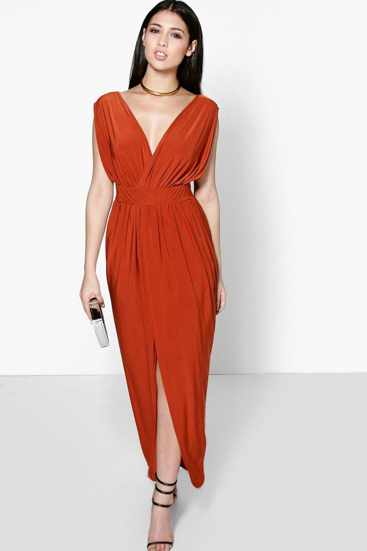 Blair Wrap Front Plunge Neck Maxi Dress at boohoo.com