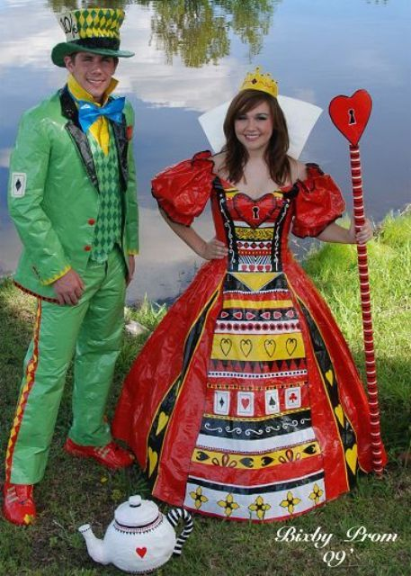 alice in wonderland inspired duct tape prom dress stuck at