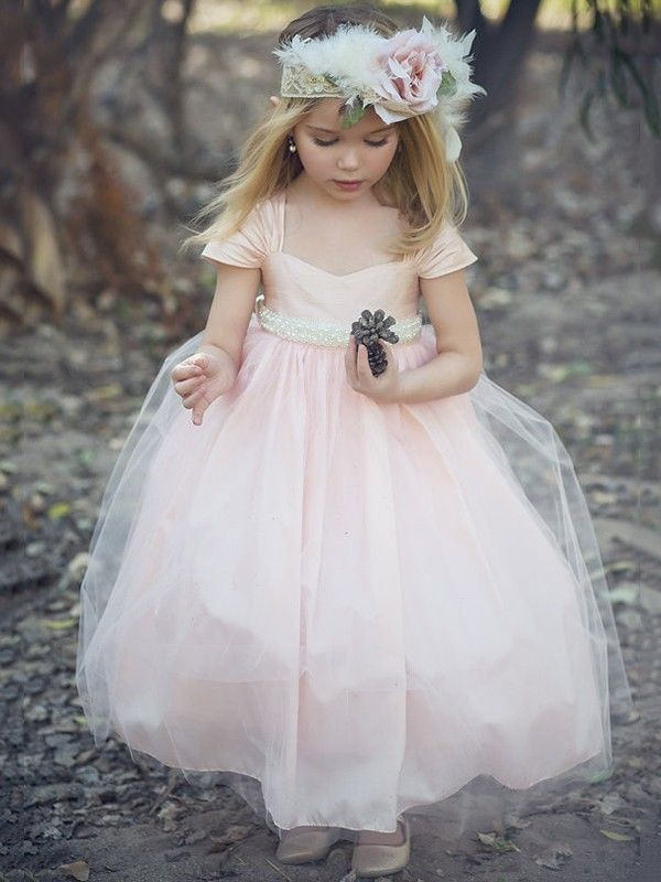 New Princess Sweetheart Tulle Ankle-length Sashes / Ribbons Pink Flower Girl Dresses