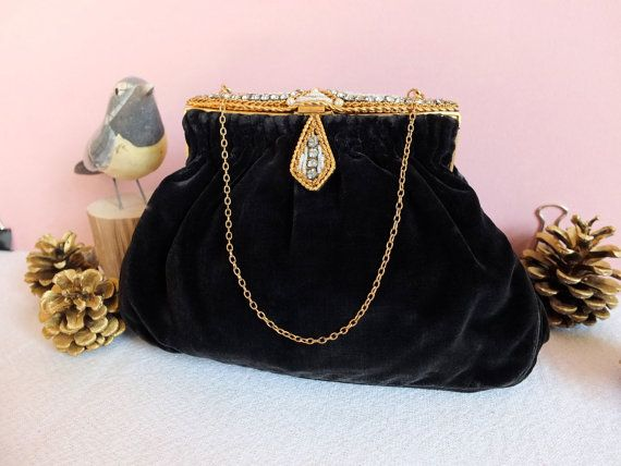 Vintage french purse - black velvet pearl and paste jewerly - art déco - 1930's