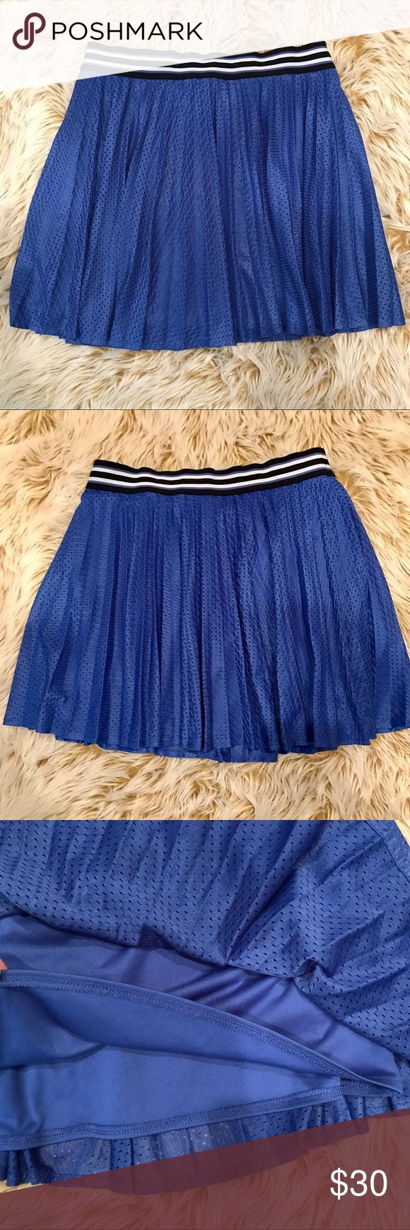 "Aeropostale mini-pleat skirt with athletic style! Aeropostale mini-pleat skirt with athletic style! Super-cute royal blue jersey type soft & stretchy fabric with a black and white striped waistband! Flowy, lined and would pair perfectly with a silk bomber -if only I was that cool! Measured lying flat: waist: 13"", length 15"", stretchy waistband 1.5"" in width. Please don't hesitate to ask any questions! Happy Poshing, offers welcome and bundle for the most savings!!! Aeropostale Skirts Mini"