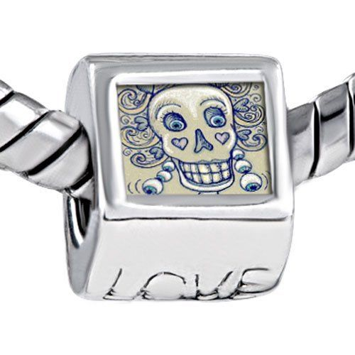 Pugster Gray White Halloween Skull Photo Engraved Love European Beads Fits Pandora Charm Bracelet Pugster. $12.49. Weight (gram): 4.20. Size (mm): 7.60*9.10*10.10. Metal: Metal. Color: Gray, white