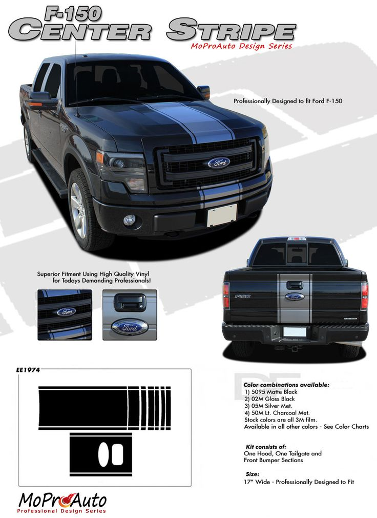 F-150 CENTER STRIPE : Ford F-150 Racing Stripes Vinyl Graphics and Decals Kit for 2009 2010 2011 2012 2013 2014 Models