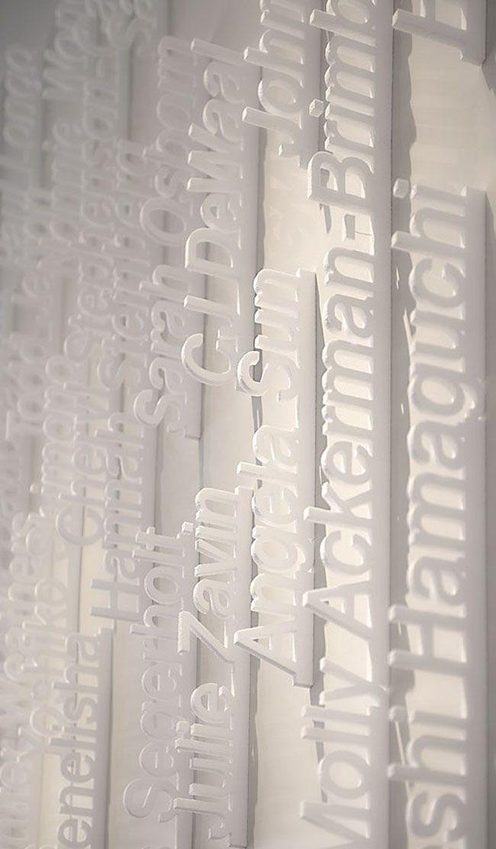 gorgeous laser-cut Styrofoam via @chloé douglas: Wall Colors, Design Wall, Love Design, 3D Wall, Wall Types, Ziba Lobbies, Ziba Design, Design Lobbies, Signage Wayfind