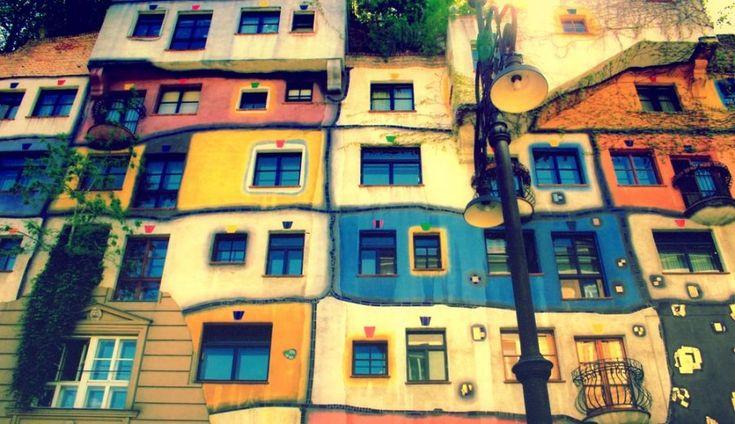 """ღღ Friedensreich Hundertwasser (1928-2000) was born Friedrich Stowasser in Vienna. He initially gained acclaim for his paintings, but is more renowned for his unique architectural stylings. His revolutionary ecological stance with regard to architecture have earned him the nickname """"Architecture-Healer."""" His work has been used for flags and stamps, coins and posters, schools and churches."""