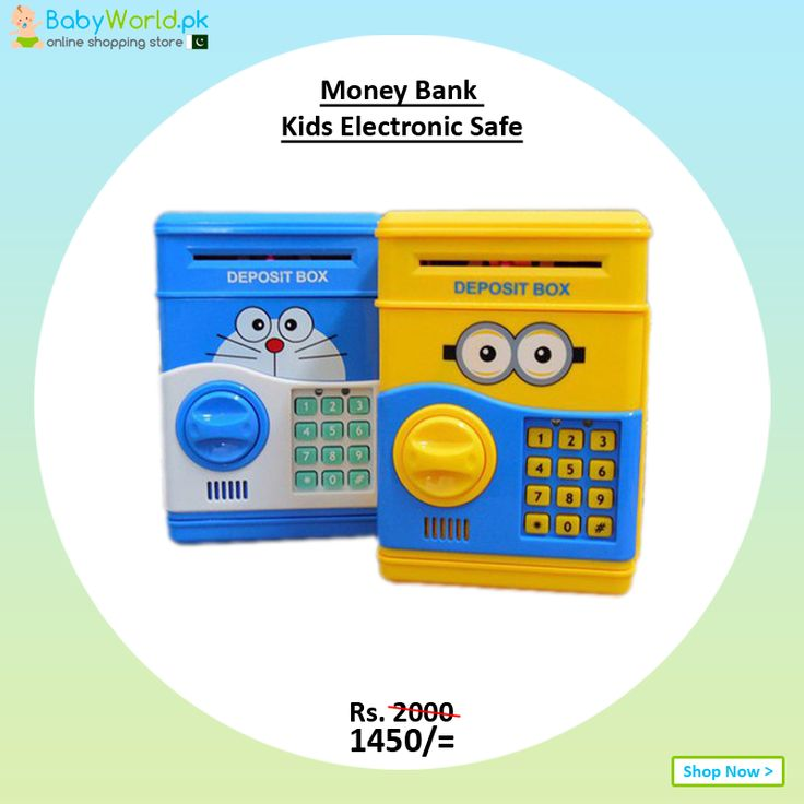 Money Bank Kids Electronic Safe Discount Price is Rs. 1450  Order online > http://babyworld.pk/toys/1773-money-bank-kids-electronic-safe-minion.html