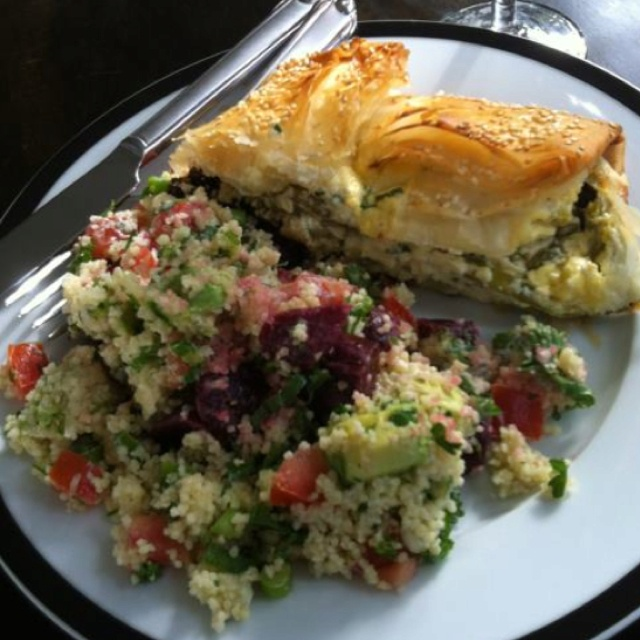Spinach and ricotta FILO parcel w Couscous Salad (Cranberry and Pumpkin Seed)--this whole thing looks good!