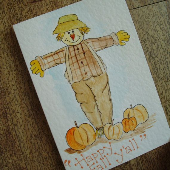 Fall scarecrow card by onelittlepug on Etsy, $2.25