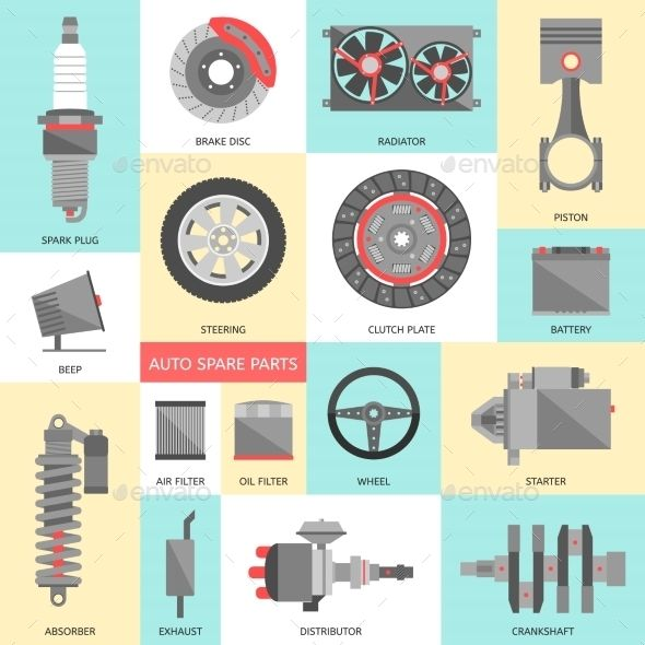 Set of Auto Spare Parts. Car Repair Icons in Flat  - Technology #3D #Renders Download here: https://graphicriver.net/item/set-of-auto-spare-parts-car-repair-icons-in-flat-/9598820?ref=alena994