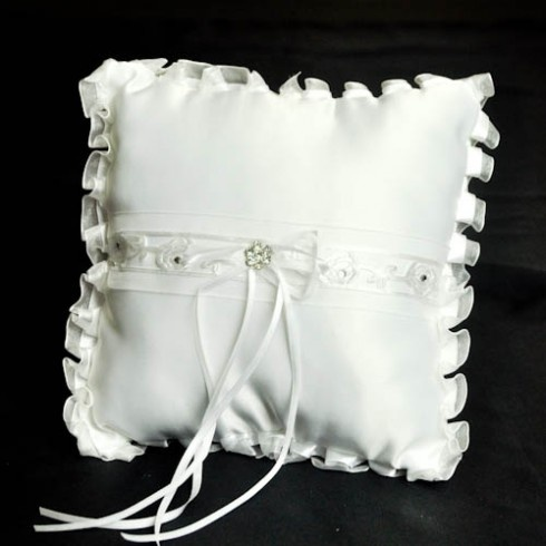 White ribbon, roses and diamonte setting decorated wedding ring pillow