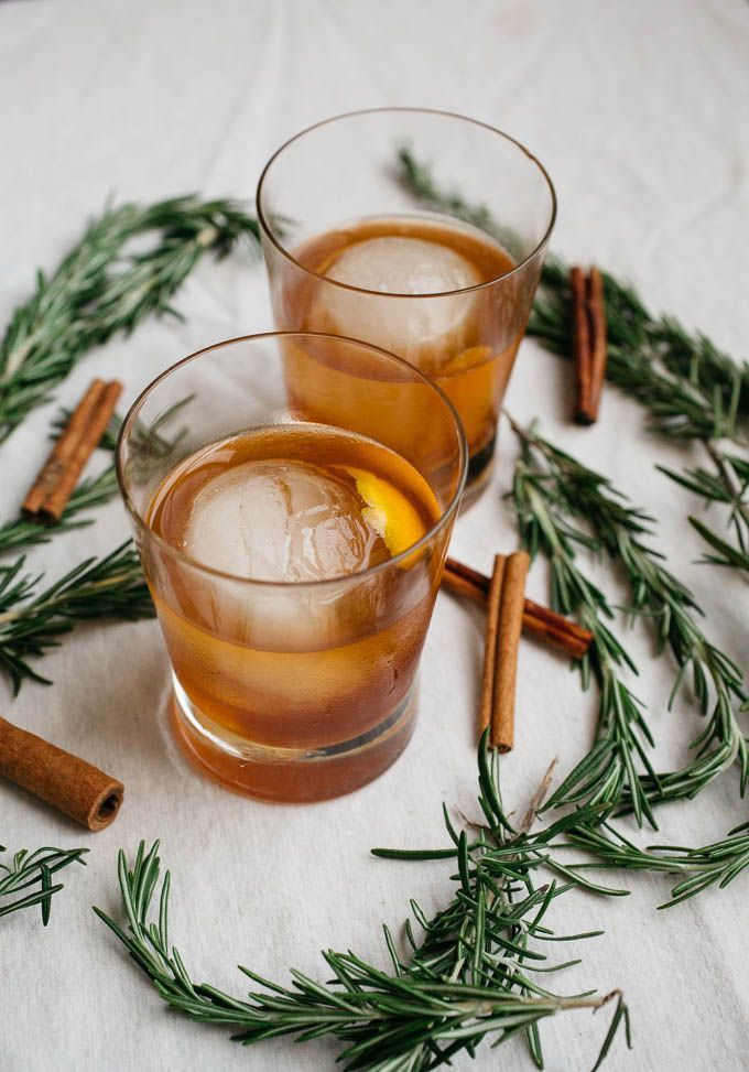 cinnamon rosemary old fashioned is a warming cocktail made with a honey-based simple syrup that is perfect for fall, winter, and any holiday festivity.