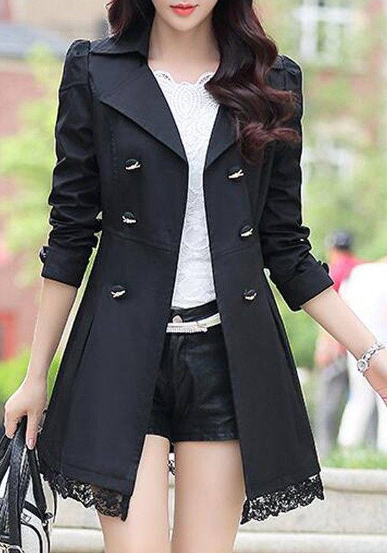 Black Patchwork Lace Sashes Double Breasted Peplum Turndown Collar Fashion Trench Coat