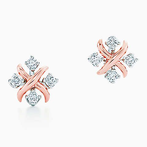 Tiffany & Co. Schlumberger® Lynn earrings in 18k rose gold with diamonds.