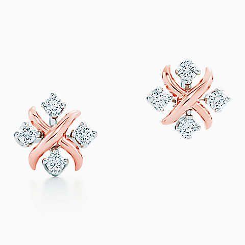 Brincos Lynn de Jean Schlumberger em ouro rosa 18k com diamantes em platina.