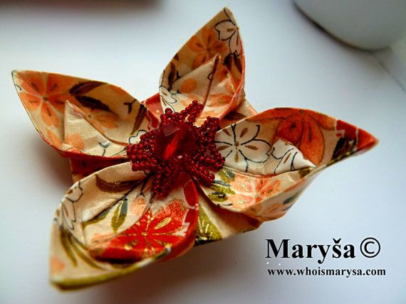 Origami Flower Brooch Orange Brooch Washi Paper by MarysaArt