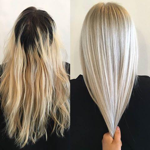 Oh, là, là! Sagenhaftes Vorher-Nachher-Ergebnis von Terra Shapiro.  Terra verwendete Framesi und Redken und machte abschließend ein 20-minütiges Olaplex Treatment um das Haar nach den Strapazen zu stärken. Wir lieben es!