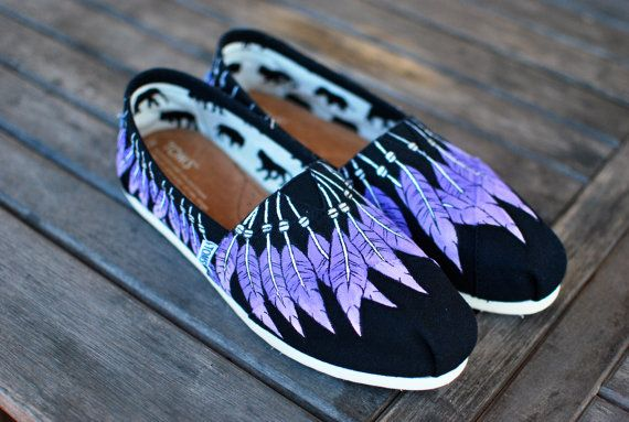 Love these! #IndianNation Hand Painted Pink and Purple feather Moccasins on Black Classic Toms on Etsy, $179.00