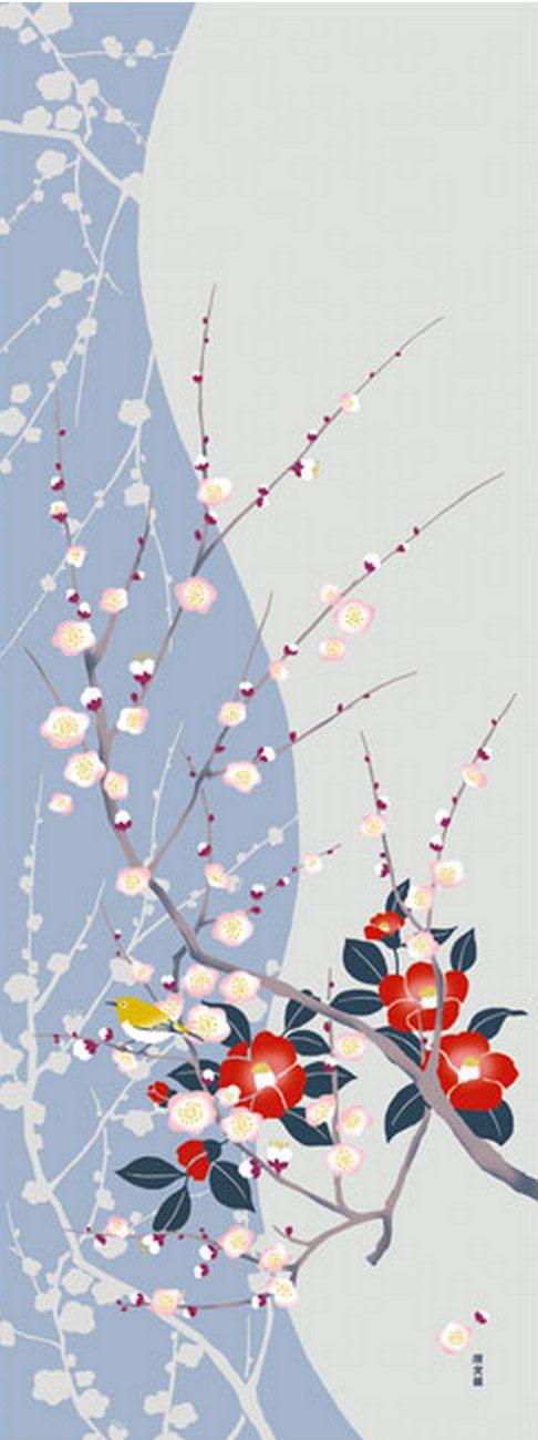 Japanese Tenugui Towel Fabric, Hand Dyed Fabric, Plum, Camellia Flower, White-Eye, Bird, Floral Fabric, Wall Art Hanging, Home Decor, JapanLovelyCrafts