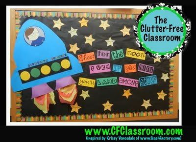 "Clutter-Free Classroom: ""SPACE"" FILLER ""Shoot for the moon, even if you miss you'll land among stars"""
