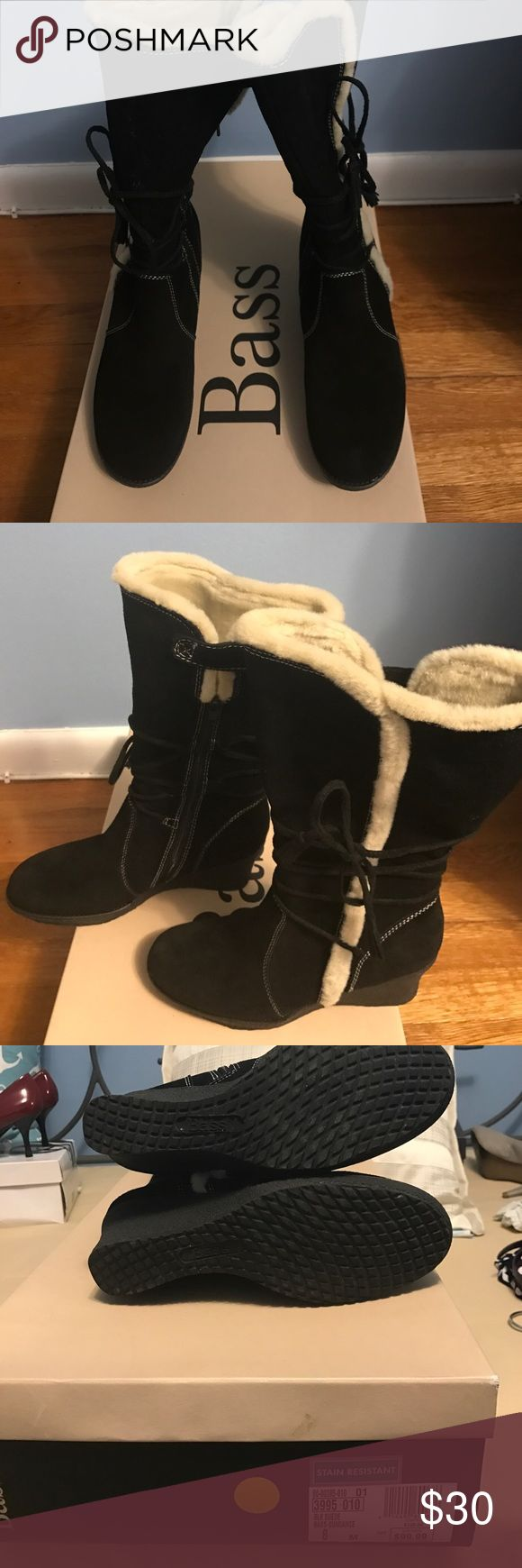 "Bass black suede wedge boots. Black suede wedge boots with zippers and ties.  2 1/2 "" wedge.  Fur lined and stain resistant. Super comfy too. Worn once. Bass Shoes Winter & Rain Boots"