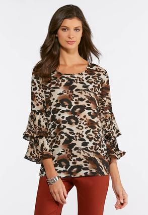 12b12d2a897 Cato Fashions Plus Size Leopard Pleated Sleeve Top #CatoFashions ...