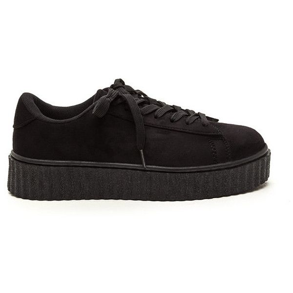 BLACK Jeepers Creepers Platform Sneakers ($28) ❤ liked on Polyvore featuring shoes, sneakers, black, low top platform sneakers, lace up shoes, creeper platform shoes, low top and synthetic leather shoes