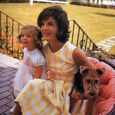 Jackie Kennedy with daughter Caroline and Charlie the dog.