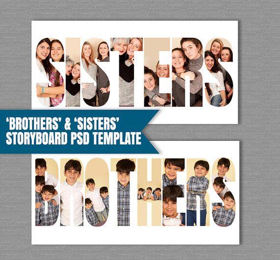 Broer/zus Storyboard broers sjabloon zusters Photoshop Template, Collage PSD-bestanden, fotografen moodboard, fotografie sjabloon, instant