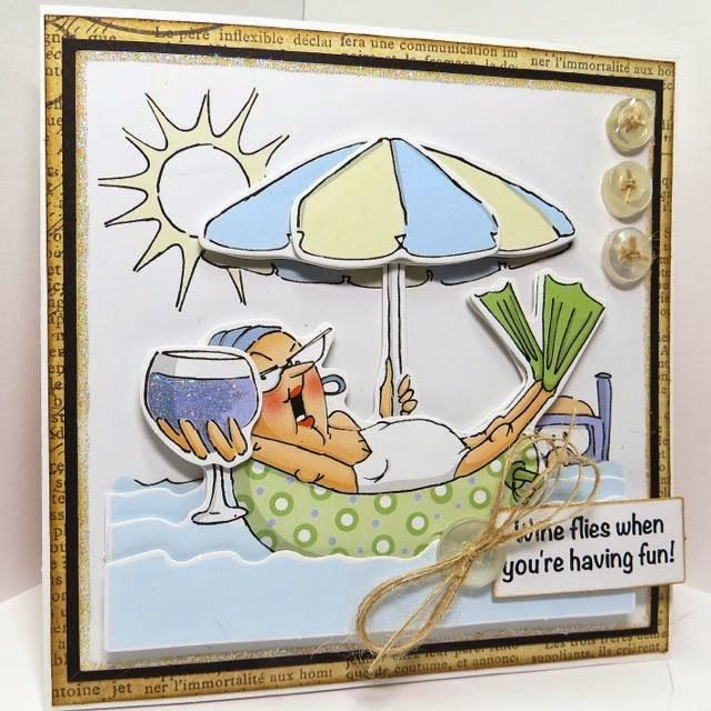 Ai Pop-Up cards Art Impressions Deco sets.  Golden Oldies beach card. Wine flies when you're having fun!