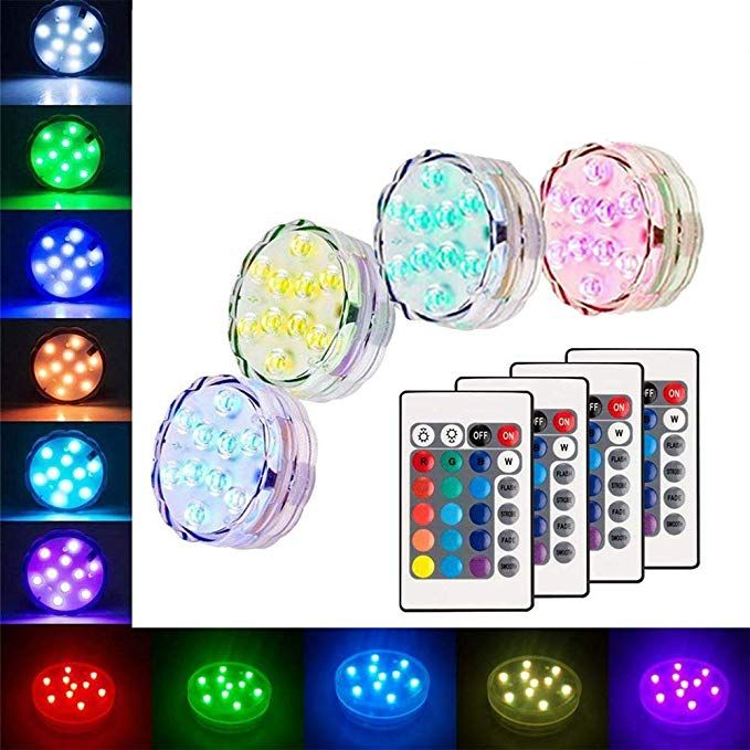 Amazon Com Submersible Led Lights Waterproof Multi Color Battery
